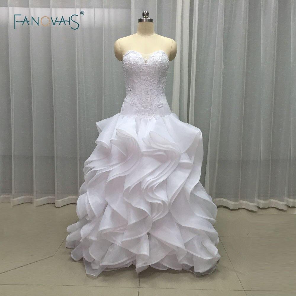 Free Shipping Low Waist Slim New Style Ivory/white Long Organza Beaded Sleeveless Ruffled Bridal Gown Wedding Dresses LBA21