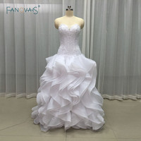 Free Shipping Low Waist Slim New Style Ivory White Long Organza Beaded Sleeveless Ruffled Bridal Gown
