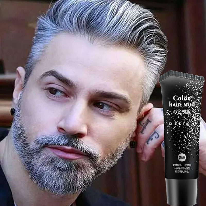50 ml disposable silver gray color hair gel cream color hair wax pomade mud product for quickly strong modeling man and woman suavecito hair pomade strong style restoring pomade hair wax skeleton cream slicked oil mud keep hair men oil no original