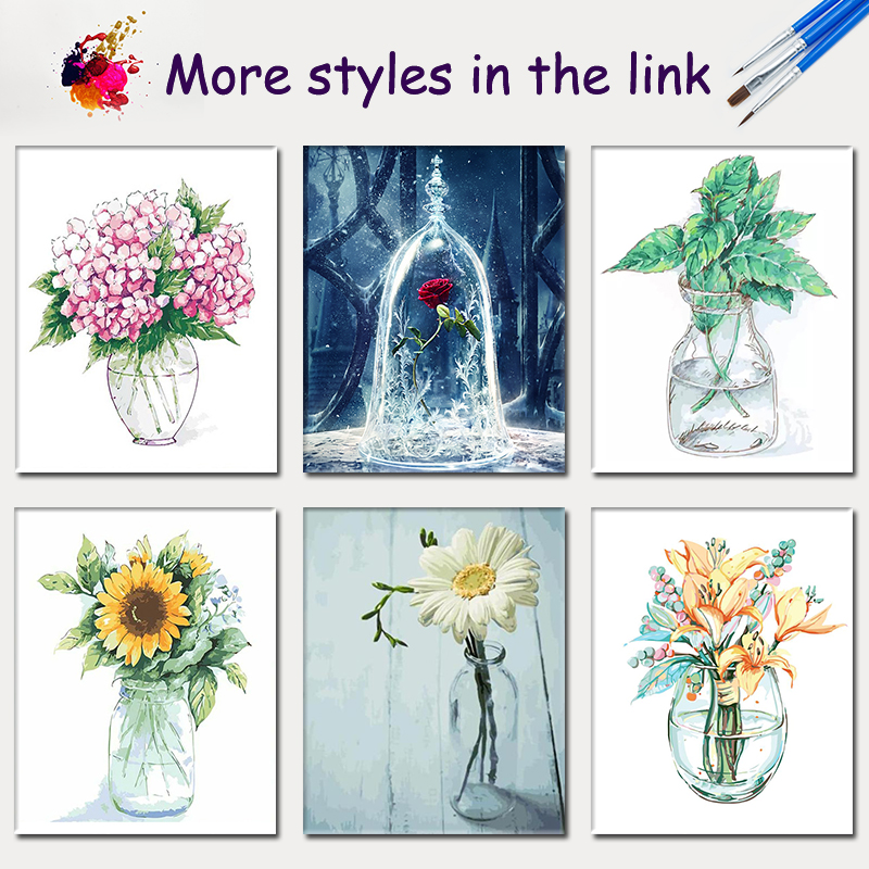 SDOYUNO 60x75cm Rose oil Painting By Numbers Flowers number painting on canvas Home Decoration Coloring By Numbers Unique Gift in Painting Calligraphy from Home Garden