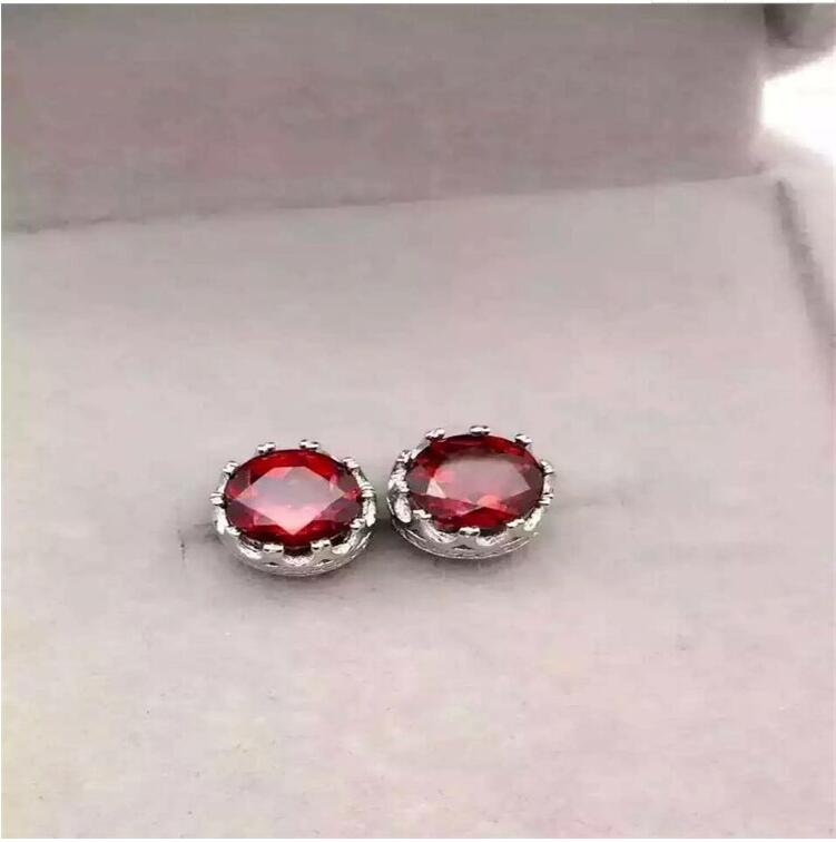 Garnet stud earring 925 sterling silver Natural real garnet Free shipping For men or womenGarnet stud earring 925 sterling silver Natural real garnet Free shipping For men or women