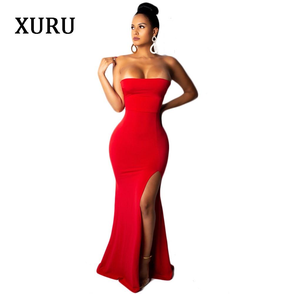 XURU new hot sale dress club party nightclub dress tube top split fishtail dress female in Dresses from Women 39 s Clothing