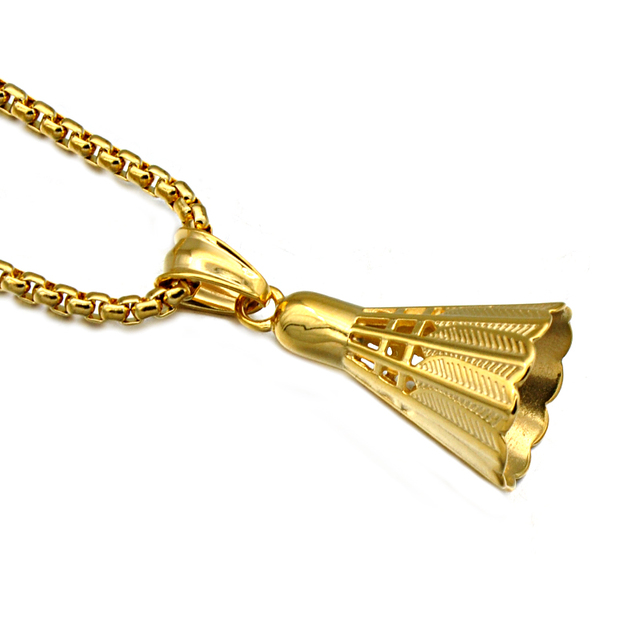 Hip trendy gold color badminton pendants for men women cool hip trendy gold color badminton pendants for men women cool titanium stainless steel shuttlecock necklaces sports mozeypictures Gallery