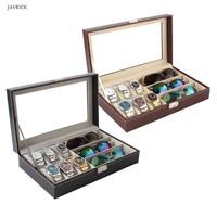 6 Slot Men Watch Glasses Box Leather Display Case Organizer Jewelry Storage Free Shipping