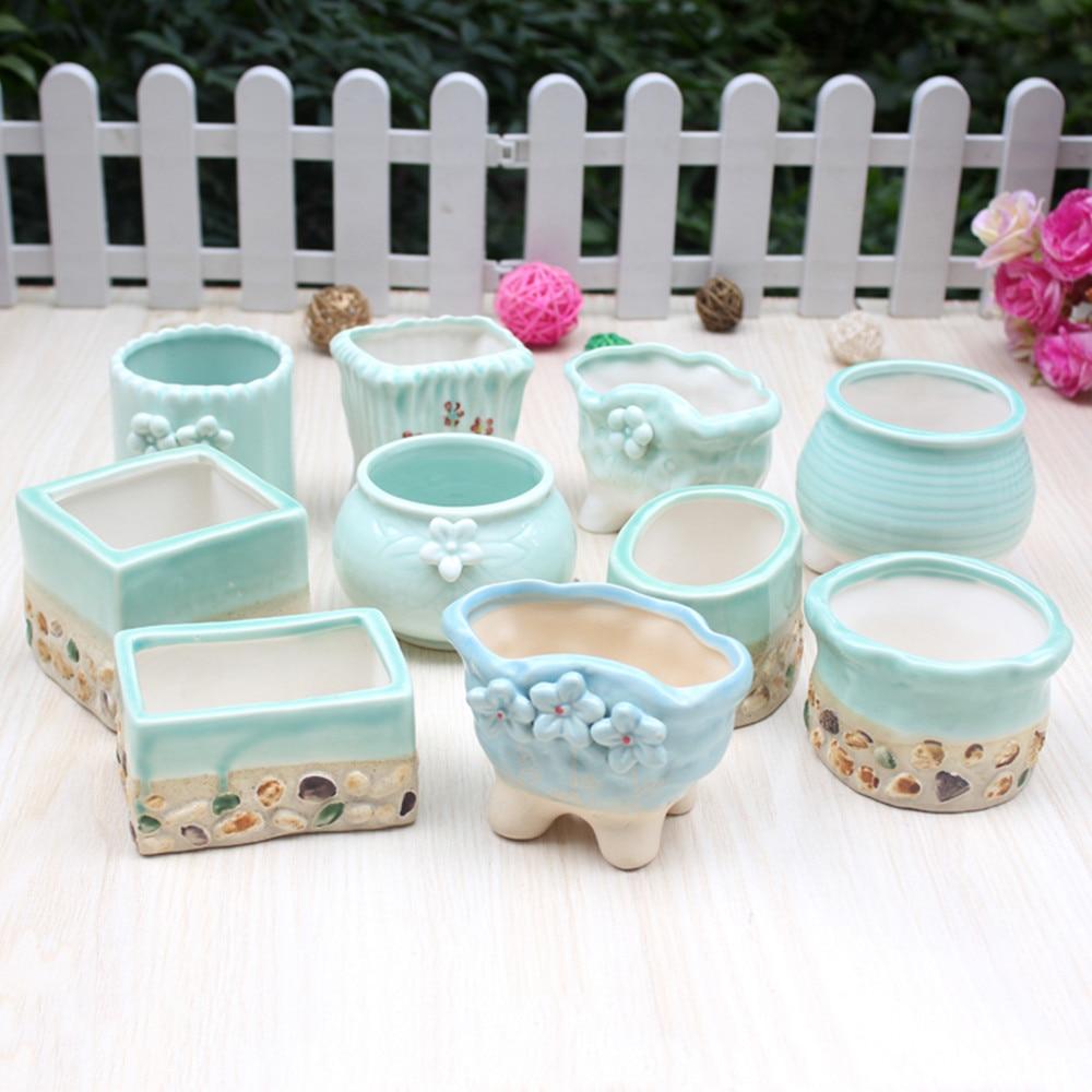 Garden Pots For Sale Part - 40: On Sale Planter Cute Succulent Plants Flower Pot Lovely Small Blue Ceramic  Floral Garden Pot Mini