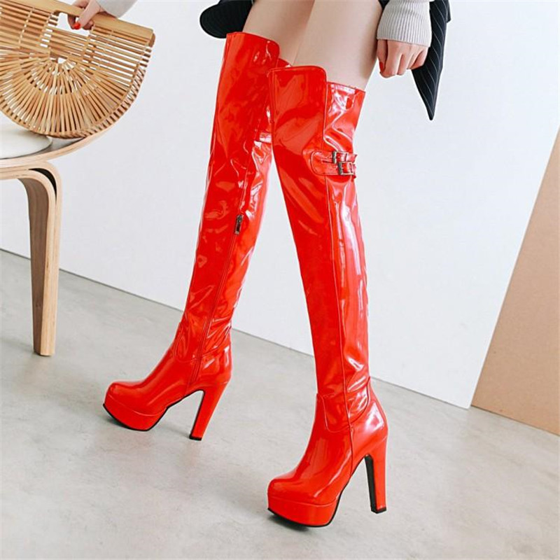 Sexy Del red Rojo Dance Señora Muslo Negro Botas Rodilla Fur Stiletto P12 Black De Para Mujeres Las Alta P12 white Charol Arranque La Plataforma P12 black Pole P12 Sobre Add U8zwB