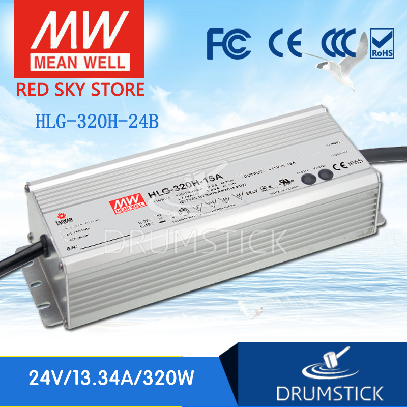 Genuine MEAN WELL HLG-320H-24B 24V 13.34A meanwell HLG-320H 320.16W Single Output LED Driver Power Supply B type [nc b] mean well original hlg 120h 54a 54v 2 3a meanwell hlg 120h 54v 124 2w single output led driver power supply a type