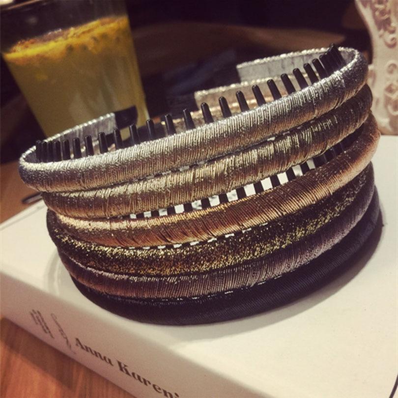 Brand Fashion Ladies Handmade Gold Thread Winding Tooth Comb Fine Side Headband Headwear Plastic Hair Hoop Hair Accessories