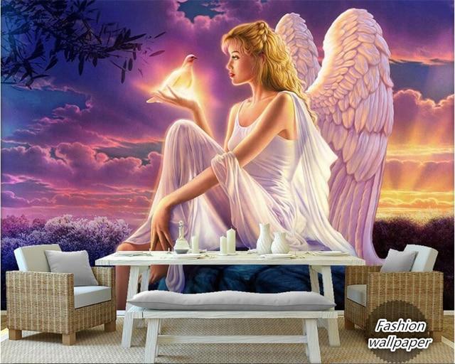 Beibehang Interieur schilderij 3D behang sky sunshine witte vleugels ...