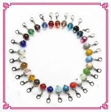 Gorący sprzedawanie 150/lot mix 30 kolor kryształ dangle charms z zapięciem homara charms fit szkło wisiorek pływających lockets