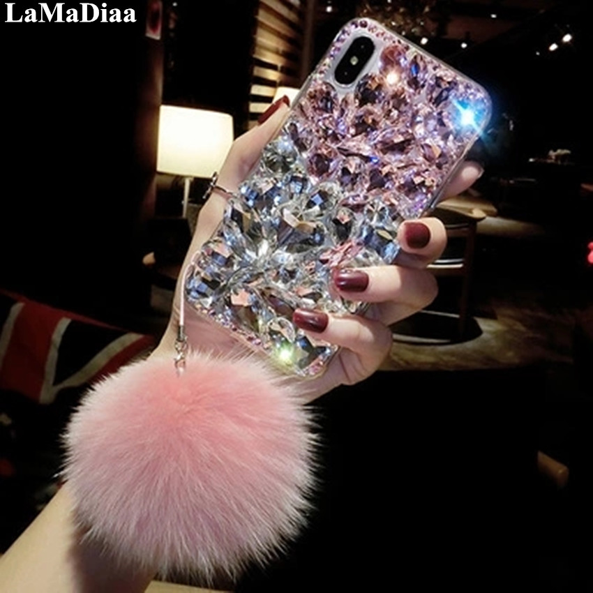 LaMaDiaa For Xiaomi 8 9 SE 5X 6X MAX2 Redmi 5 6 7 8 4A 5A 6A 8A Note 4 4X 5A 5 6 7 8 Pro Bling rhinestone strap phone case cover