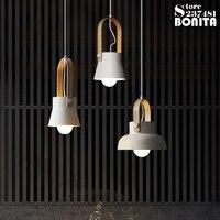Nordic clothing store minimalist bedroom pendant lamp wooden ring Iron droplight loft bar restaurant modern Small hanging lamps