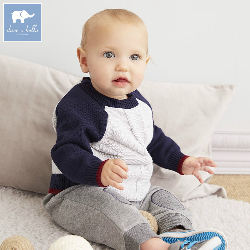 DB5624 dave bella autumn infant baby boys grey pullover 100%contton sweater kids lovely clothes toddler children knitted Sweater db2315 dave bella autumn winter baby boy turtleneck sweater infant clothes toddle cotton wool sweater boys plum sweaters