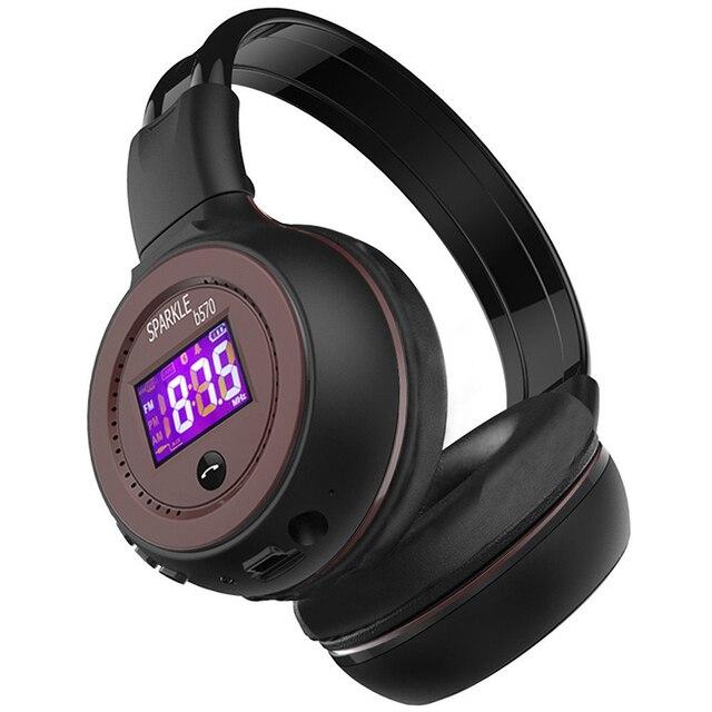 ワイヤレスヘッドフォン Bluetooth ハイファイステレオヘッドセットとマイク FM ラジオマイクロ SD カード再生 Led ディスプレイスクリーンイヤホン