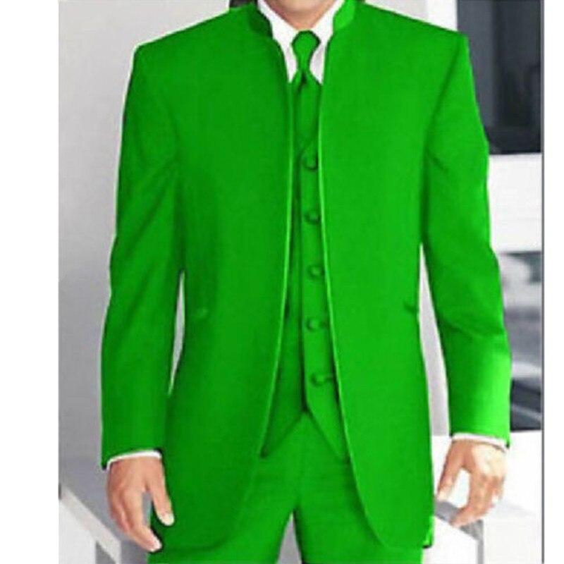 Высокое качество 3 предмета зеленый мандарин воротник Костюмы Для мужчин Формальные Свадебная вечеринка Смокинги для женихов (куртка + Брюк