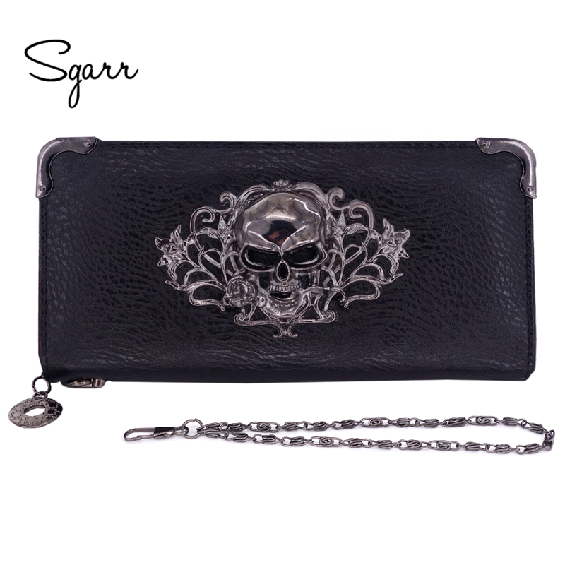 SGARR Women Wallets Fashion Designer PU Leather Punk Wallets Female Long Skull Ladies Clutch bag Famous Brand Famale Purse