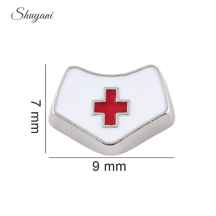 7*9mm Floating Locket Charms Enamel White Nurse Cap Charms For Glass Living Locket