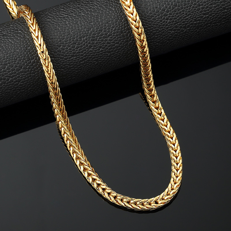 trendy Gold Finish Jewlery Iced Out Hip Hop Mens Cuban Link Chains Necklace Long Bling Necklace Gift Free Shipping