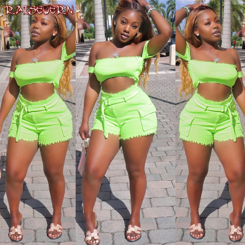 RAISEVERN Women Sexy Lace-up Off Shoulder Florescent Two Piece Set Short Sleeve Strapless Navel Tops And High Waist Slim Shorts