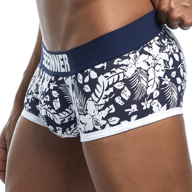 19 Styles SEEINNER <font><b>Brand</b></font> Male Panties <font><b>Boxers</b></font> Cotton <font><b>Men</b></font> Underwear U convex pouch <font><b>Sexy</b></font> Underpants Printed leaves Homewear Shorts image