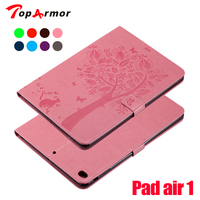 TopArmor High Quality Tree Cat Print Flip Stand PU Leather Protector Cover Shell Case For Apple