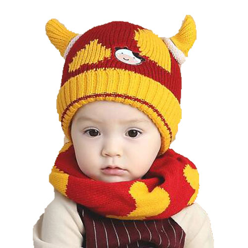 Unisex New Winter Warm Add Velvet Knitted Hats Set Child Kids Cow Horn Beanies Caps and Scarf Suit Set For Boy Girl MZ4169