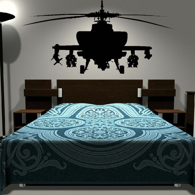 Removable Army Helicopter Sticker Bedroom Art Decal Boys Wall Stickers Home  Decoration Mural Boyu0027s Room Decor