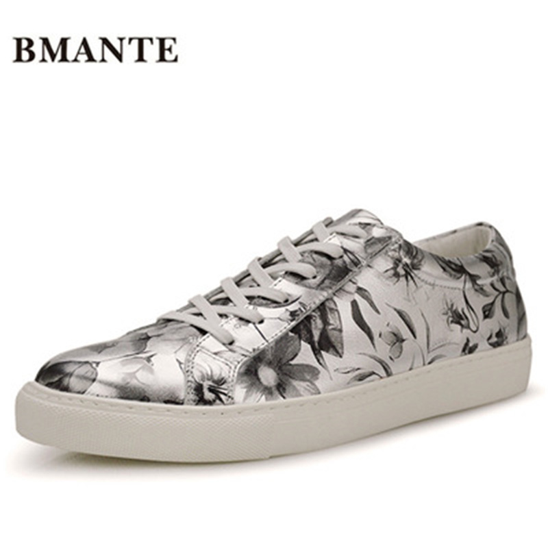 Print Flower Luxury Trainers Summer Male Adult Shoes Casual Lace-up Flats Spring Black Shoes New Men Genuine Leather Shoes ege brand handmade genuine leather spring shoes lace up breathable men casual shoes new fashion designer red flat male shoes