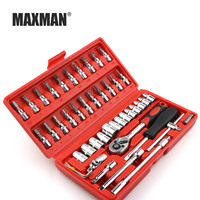 Maxman 46 stks 소켓 ratel 자동 수리 도구 케이스 precisie mouw kruiskopeling 하드웨어 키트 자동 repareren 핸드 렌치 도구 세트