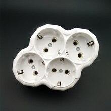 ร้อน250V 16A 1ถึง4 EU Plug Sockets Outlet ,AC Charger Wall Socket Plug Mains Strip Adapter