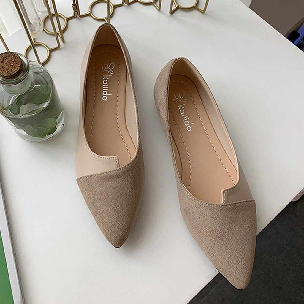 Autumn Women's 2019 New ladies shoes woman Splice Color Flats Fashion Pointed Toe Ballerina Ballet Flat Slip On flat shoes women