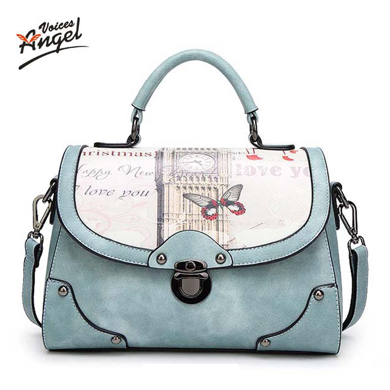 Angel Voice Women Bag Handbag PU Leather Women Leather Handbag Casual Oil Picture Pattern Women Shoulder Bag Fashion Female Tote недорго, оригинальная цена