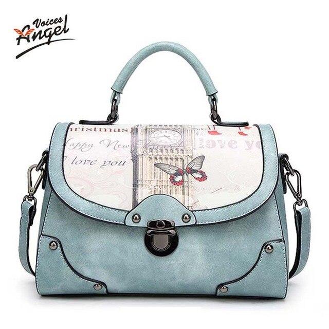 Angel Voice Women Bag Handbag PU Leather Women Leather Handbag Casual Oil  Picture Pattern Women Shoulder Bag Fashion Female Tote 49067acf9d