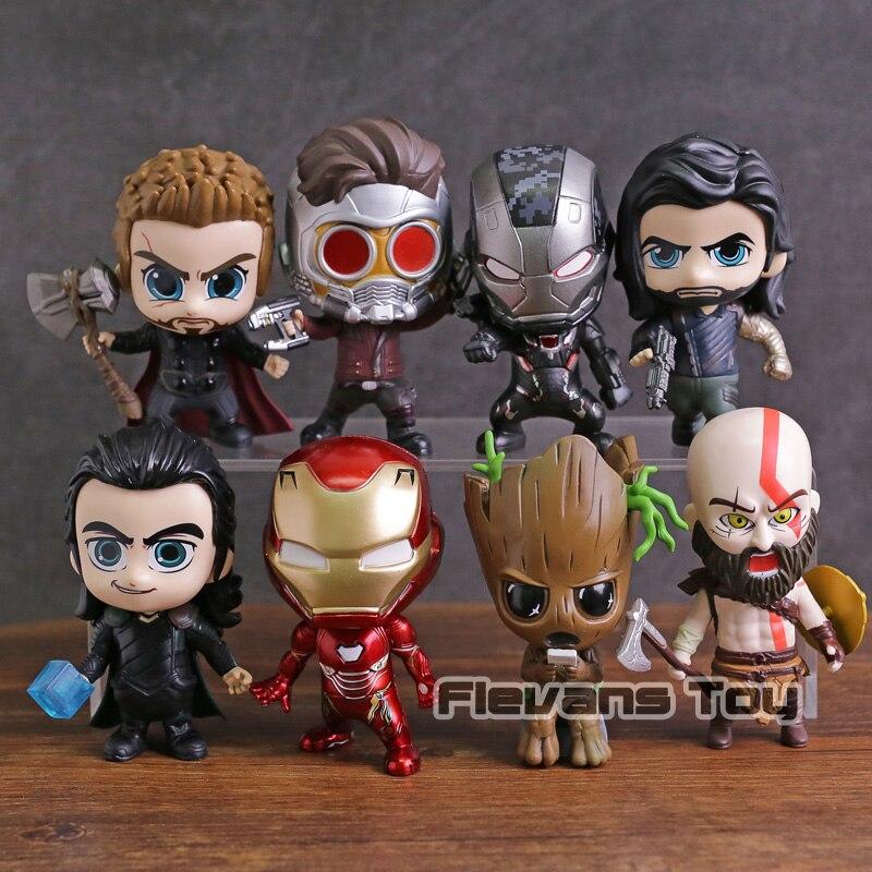 Marvel Thor Loki Arbre Homme Iron Man War Machine Étoiles Seigneur Kratos Winter Soldier PVC Figurines Jouets 8 pcs/ensemble