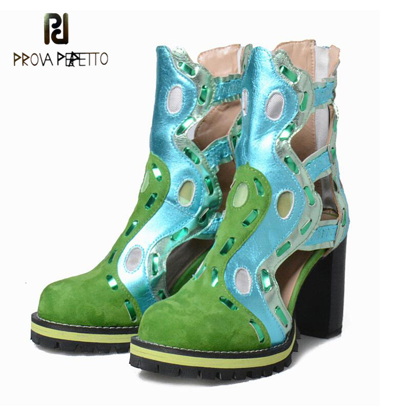 Prova Perfetto 2018 Hot Style Selling Spring Autumn Boots Hollow Out Color Matching Real Leather Ankle Boots New Coming Bota punk style pure color hollow out ring for women