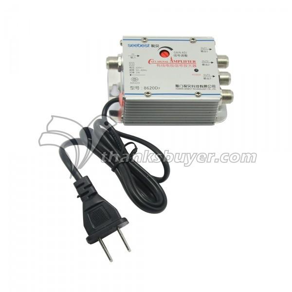 Seebest 8620D7 1 em 3 Out 20dB Ganho CATV Ajustável Amplificador de Sinal de Reforço de Sinal De TV