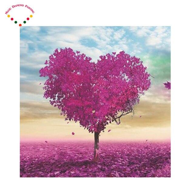 Púrpura árbol Diy Diamante Dibujo Diamante Pintura Amor árbol Del