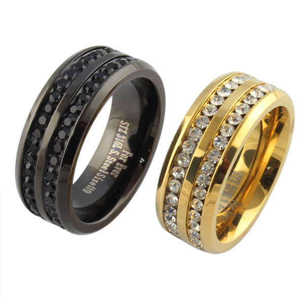 Black gold crystal his and her promise ring sets wedding for Wedding rings for male and female