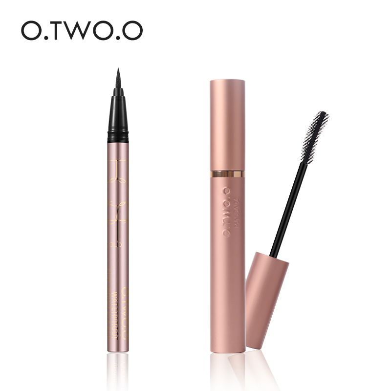 O.TWO.O Brand Eyes Makeup Black Liquid Eyeliner Long-lasting Waterproof Eye Liner+Black Mascara Nice Makeup Cosmetic Tools free shipping 3 pp eyeliner liquid empty pipe pointed thin liquid eyeliner colour makeup tools pink black
