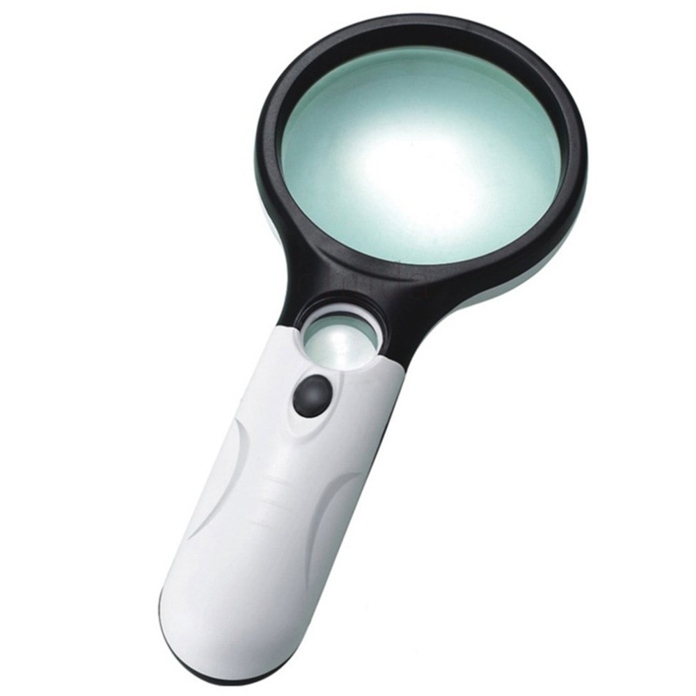 Portable Handheld Magnifier Dual Lens 45X Magnifier 3 LED Light Reading Magnifying Glass Jewelry Loupe For The Aged Toiletry Kit