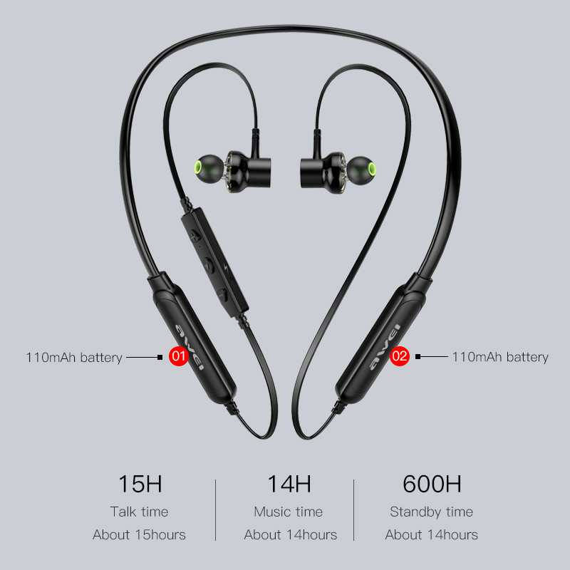 AWEI G20BLS Wireless Earphones Neckband Bluetooth headphone Headset Earpiece 220mAh Battery Capacity Earphone Casque Auriculares 4