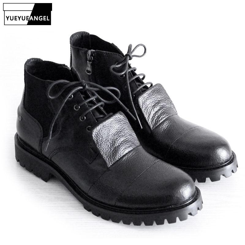 Новинка 2019, зимняя мужская обувь из натуральной кожи, ботильоны на шнуровке, мужские черные ботинки на толстой платформе, мужская обувь на к