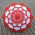 4 Cores Sun Umbrella Parasol Do Laço Guarda-chuva Guarda-chuva De Casamento Branco de Noiva Bordado Ombrelle Parapluie Dentelle Mariage