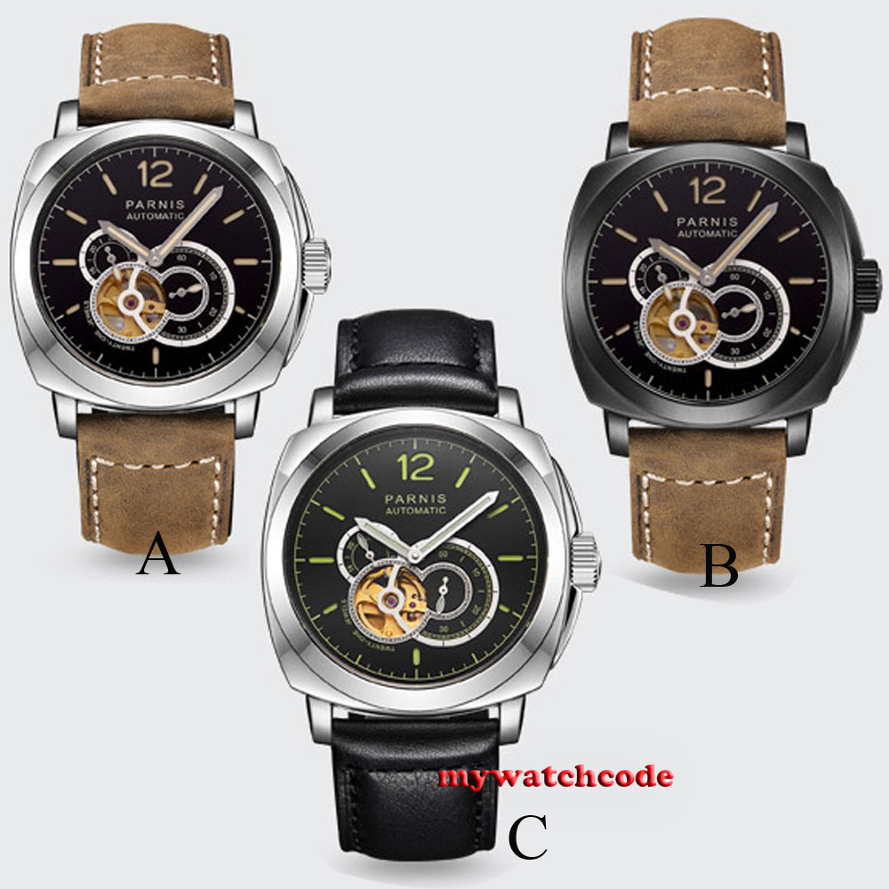 44mm parnis black dial luminous marks 21 jewels miyota automatic mens watch все цены