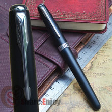 JINHAO 601 FROSTED BLACK AND SILVER 18KGP FINE NIB FOUNTAIN PEN ARROW CLIP