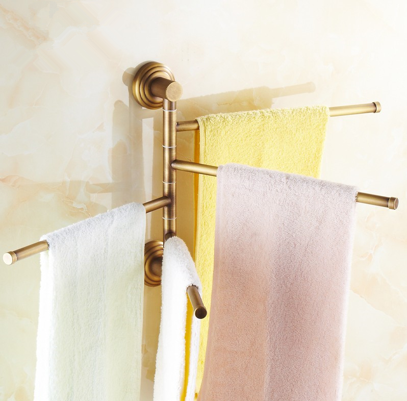 Bathroom accessories,Brass Material Four Bars Revolve Towel Bar&Towel Rack /Antique Brass Finish Vintage Style Four Tiers Design new arrival solid brass bathroom revolve towel bar antique brass four tiers bath towel holder rack wall mounted
