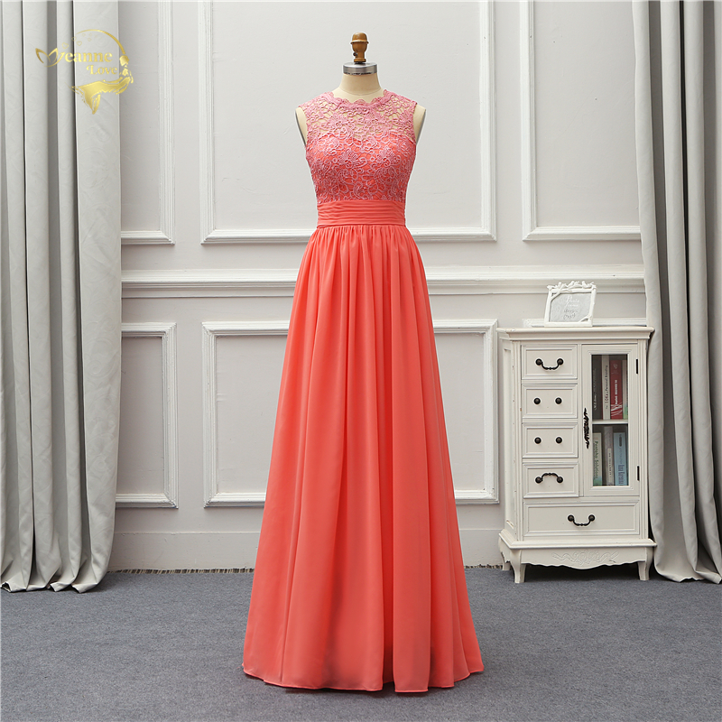 Jeanne Love длинное вечернее платье новое поступление 2019 года с открытой спиной кружево высокое вечерние Оранжевый вечерние халат De Soiree vestido de ...