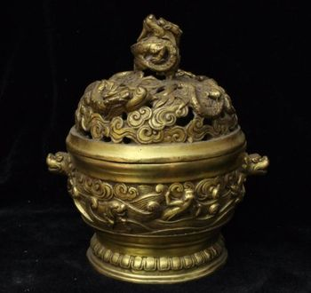 Old Chinese Dynasty Bronze Fengshui Dragon Beast Head incense burner Censer