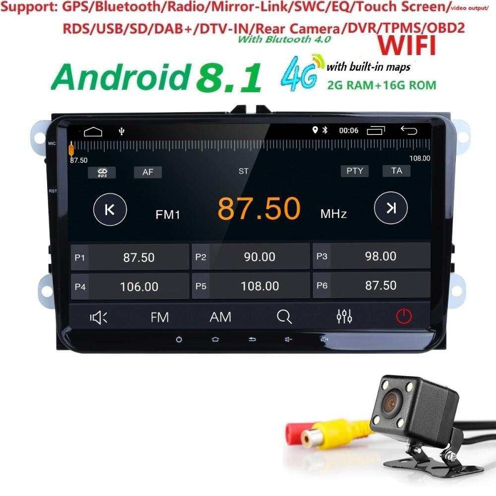 4 GWIFI 2G + 16G IPS DSP Android8.1 lecteur de voiture NODVD pour S koda Octavia Fabia Rapid Yeti superbe V W passat golf 4 5 polo tiguan GPS