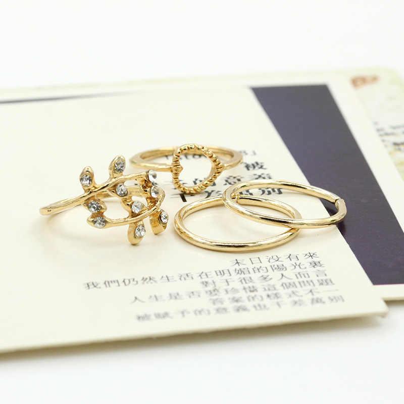 4 pezzi/set Foglia Anelli di Cristallo Set Oro Argento Cuore Midi Knuckle Anello Aperto Regolabile Delle Donne di Strass Metà di Barretta Dei Monili